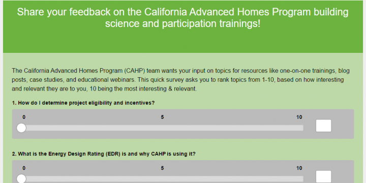 CAHP Program Survey